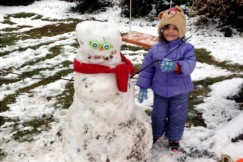 #16 Eloise and the snowman she built at home.