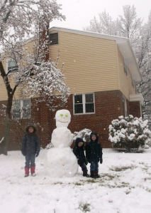 The Bishop's Spring Break snowman.