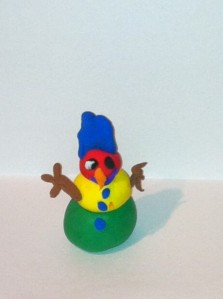 """Jack Severino's """"Snowman"""" In the running for Most Creative or Under 10. (Made with clay since there wasn't enough snow)"""
